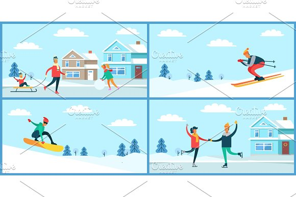 Winter Sport and Activities Vector Illustration in Illustrations