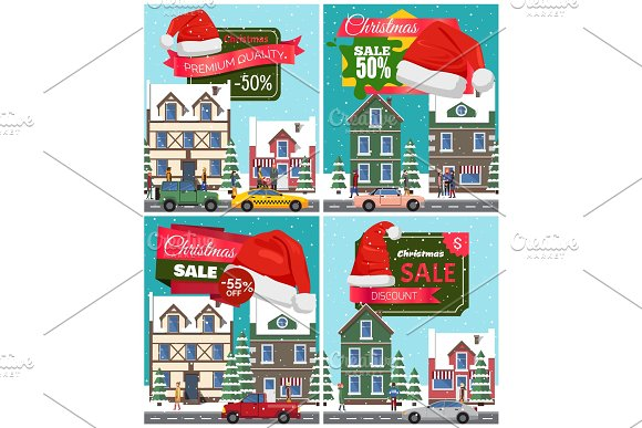 Christmas Sale Set of Posters Vector Illustration