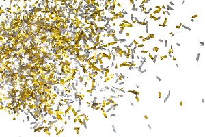 Photo of golden confetti on a white background.