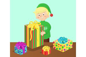 Boy and Presents on Table Vector Illustration