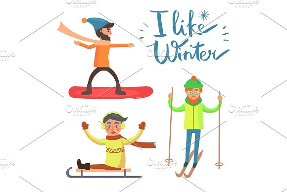 I Like Winter, Activities Vector Illustration