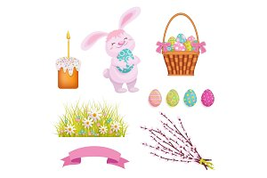 Set of cartoon style Easter decoration elements