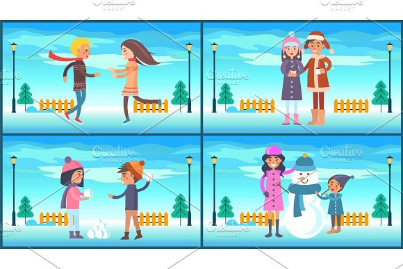 Winter Park and People Set Vector Illustration
