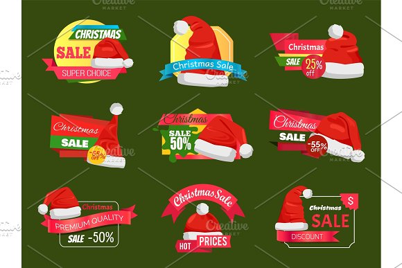 Great Diversity of Santa Hats on Shopping Labels in Illustrations