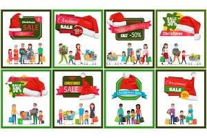 Eight Christmas Sale Banners Vector Illustration