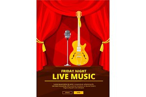 Poster invitation at live music concert. Vector picture of retro microphone and acoustic guitar