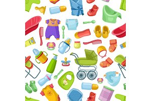 Vector seamless pattern with different elements for newborns