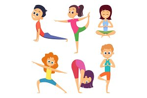Yoga for kids. Happy childrens make different exercises. Cartoon characters set