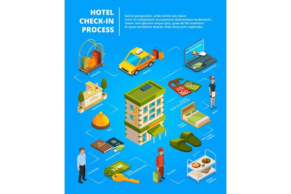 Hotel check in process. Infographic…