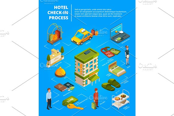 Hotel check in process. Infographic illustrations with isometric pictures