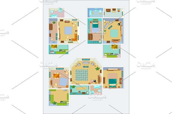 Drawings for the layout of the apartment. Top view vector pictures of kitchen, bathroom and living room