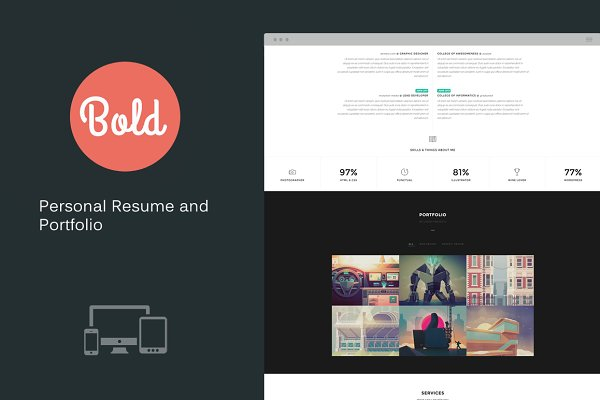 Bootstrap Themes - Bold - Personal Resume and Portfolio