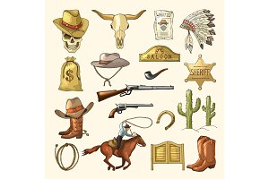 Colored illustrations of wild west symbols. Western vintage pictures isolated