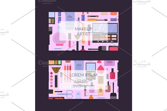 Vector business card template for beauty brand or makeup artist with flat style makeup and skincare in Graphics