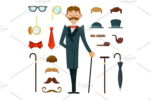Fashioned retro gentleman with different accessories of victorian style. Creation mascot kit in Graphics