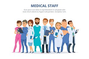Medical staff. Group of male and female doctors