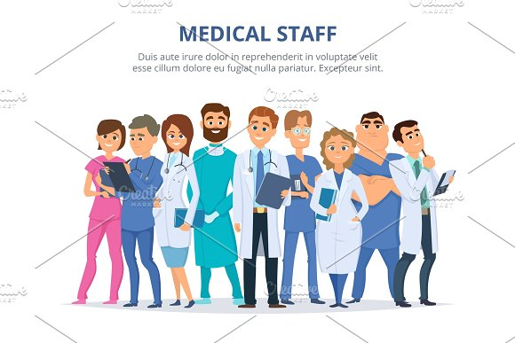 Medical staff. Group of male and female doctors in Graphics