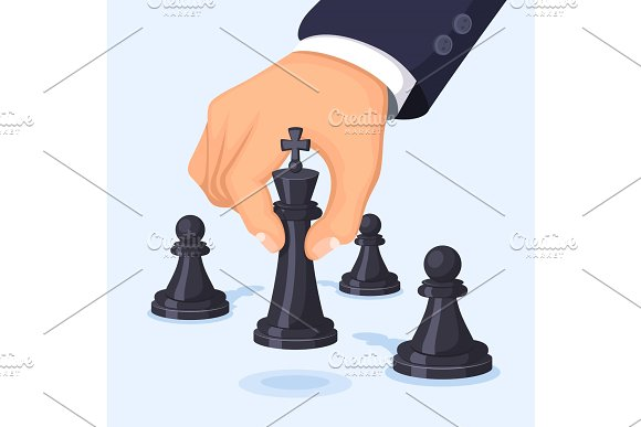 Business concept illustration. Hand moving chess. Visualization of leadership