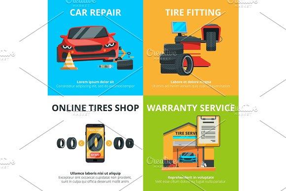 Concept illustrations of auto tire service. Garage for mechanics. Automobile shop