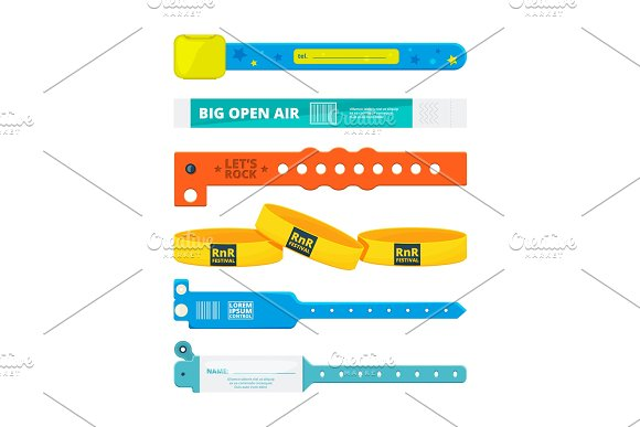 Entrance bracelets for public concerts or hotel, stadium, private zone. Vector design templates