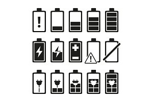 Monochrome pictures of smartphone battery in different levels of charging