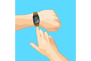 Business concept picture with mechanical hand watch. Vector illustration isolate