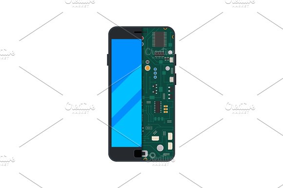 Illustration of electronic circuit of mobile phone or smartphone in Graphics