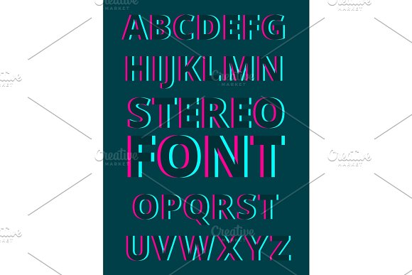 Stereoscopic alphabet on dark background. 3d characters