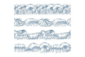Horizontal seamless patterns with different ocean waves. Hand drawn pictures set
