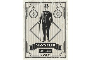 Design template of retro poster for gentleman club