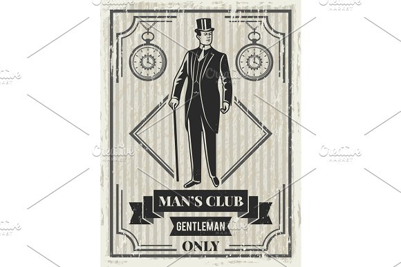 Design template of retro poster for gentleman club in Graphics