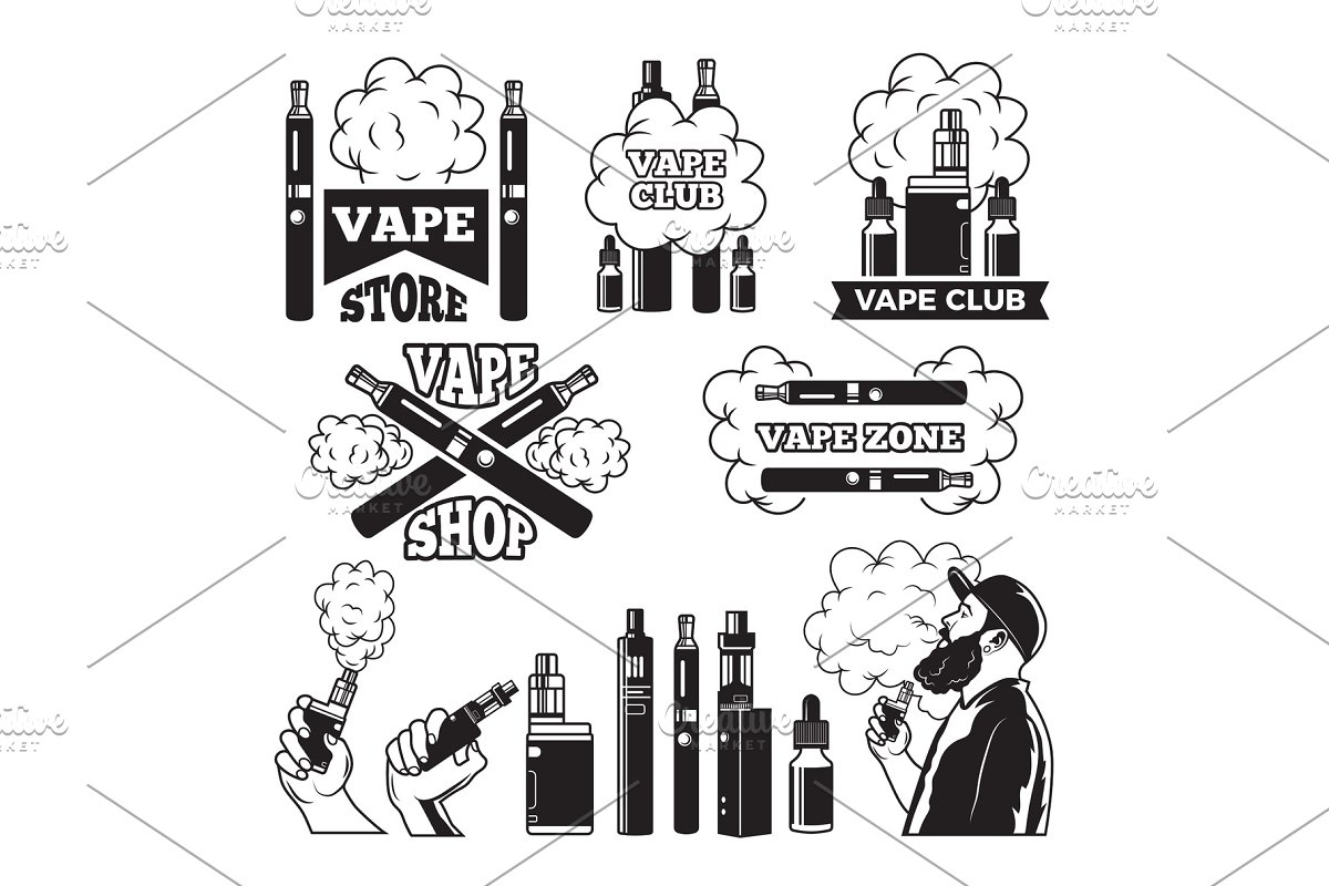 Monochrome labels set for vaping and smoking club or shop. Electronic cigarette