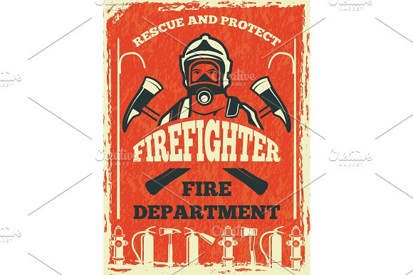 Poster for firefighter department. Design template in retro style
