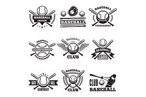 Baseball logos set in vector style