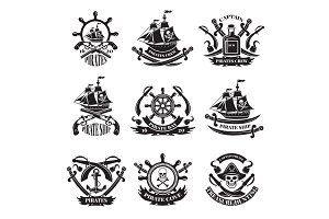 Pirate skull, corsair ships, symbols of piracy. Monochrome labels set