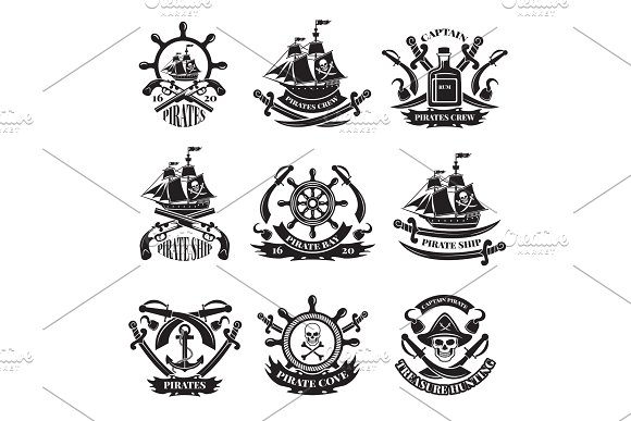 Pirate skull, corsair ships, symbols of piracy. Monochrome labels set