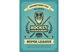 Vector vintage poster of hockey championships