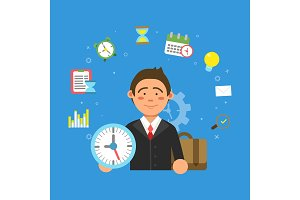 Businessman and different symbols of productivity and time management