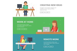 Horizontal banners with illustrations of freelancers at his workspace. Programmers and designers