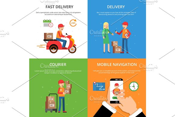 Concept pictures set on theme of delivery service. Customers and logistics