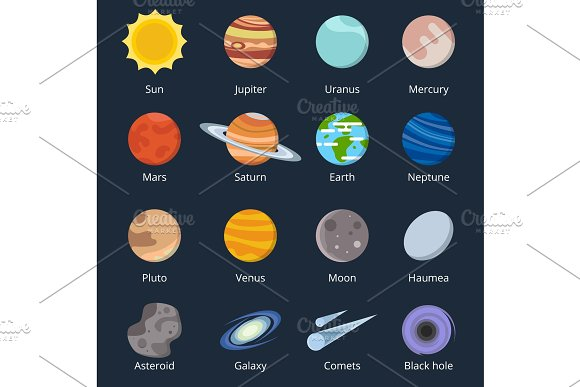 Different planets of solar system. Illustration of space in cartoon style