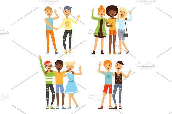 Illustrations of best friends. Friendly hugging of teenagers