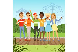 Big friendly group of multiracial teenagers. Vector background picture in cartoon style