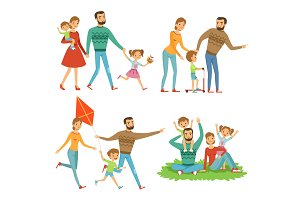 Happy family walking in park. Funny characters set in cartoon style