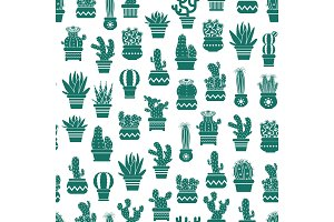 Vector monochrome pattern with cacti in plant pots