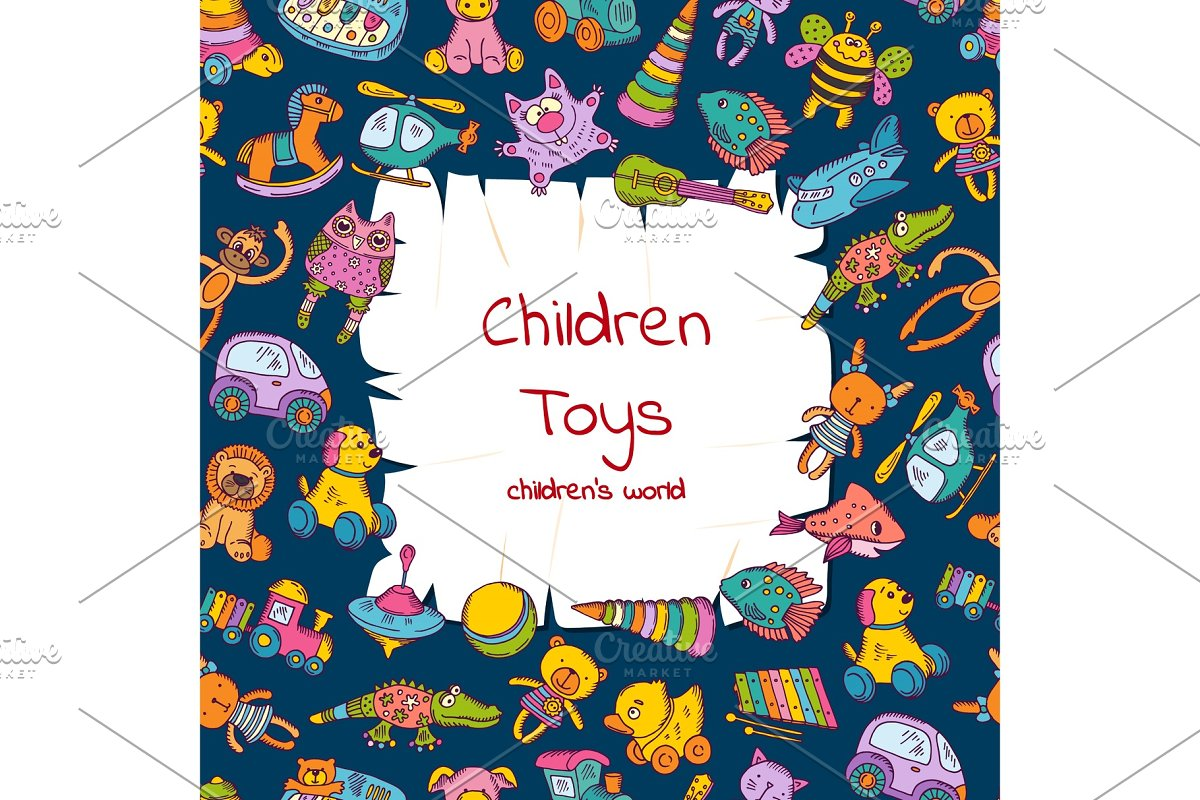 Vector ripped paper with place for text surrounded by sketched colored children toys illustration