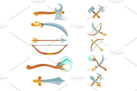 Vector set of fantasy cartoon game design crossed and in the row swords, axes, staffs and bow weapon isolated on white background