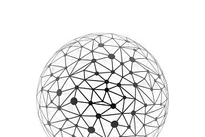 Global connections sphere on white
