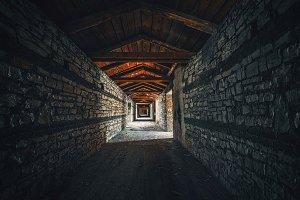 Creepy attic interior at abandoned building