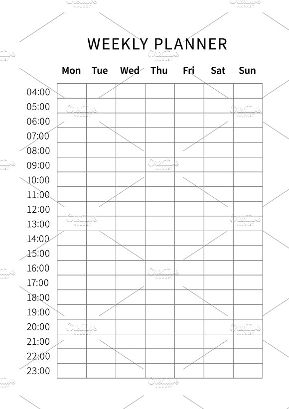 Weekly planner a4 size grid